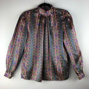 Vintage Jewel Tone Printed Blouse - Size 6